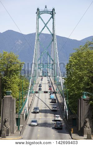 The entrance to Lion Bridge in the city of Vancouver (British Columbia Canada).