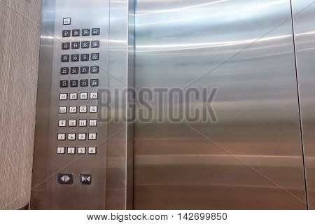 Detail of lift or elevator key pad elevator buttons panal