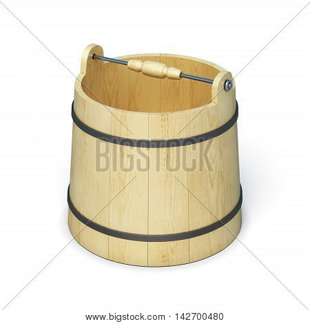 Wooden Bucket For Sauna Isolated On White Background. 3D Rendering