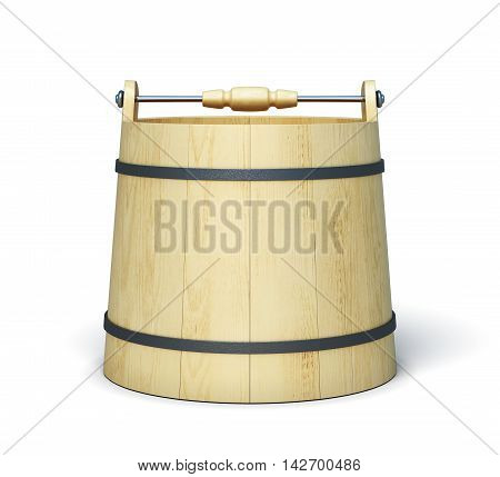 Empty Wooden Bucket On A White Background. 3D Rendering