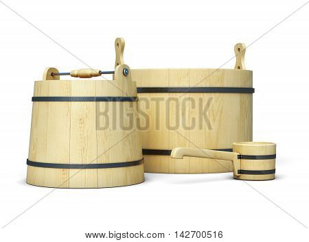 Set Of Bucket And Ladle Isolated On White Background. 3D Rendering