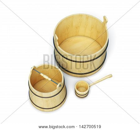Buckets And Ladle Isolated On White Background.  3D Rendering