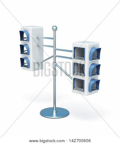 Advertising Information Desk Isolated On White Background. 3D Render Image