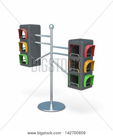 Display In The Form Of A Traffic Light On White Background. 3D Rendering