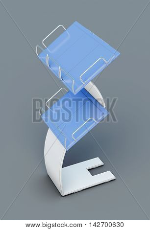 Stand For Newspapers Or Magazines  On Grey Background. 3D Rendering