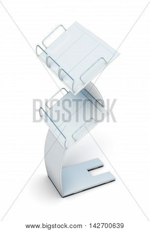 Stand For Newspapers Or Magazines Isolated On White Background. 3D Rendering