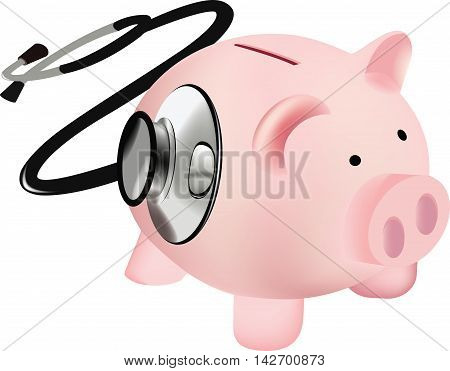 pink pig with stethoscope pink pig with measuring heartbeat stethoscope