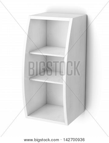 Bookcase With Shelves Isolated On White Background. 3D Rendering
