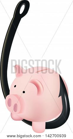 fish hook with piggy bank piggy bank shaped like a pig on a fishing hook