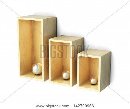 Shelves Isolated On White Background. 3D Rendering