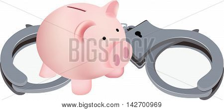 piggy bank in piglet form with hand piggy-shaped pink pig with symbol handcuffs