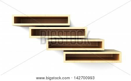 Wall Shelves Front View Isolated On White Background. 3D Rendering