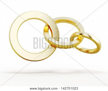 Round Chain Links Isolated On A White Background. 3D Rendering