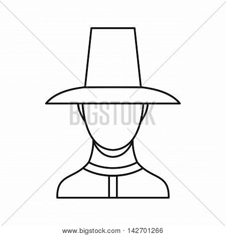Korean soldier in historic uniform icon in outline style isolated on white background vector illustration