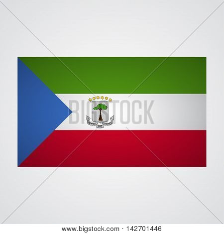 Equatorial Guinea flag on a gray background. Vector illustration