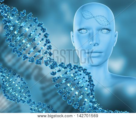 3D render of a medical background with female head and DNA strands