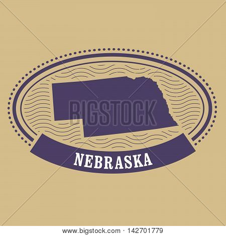 Nebraska map silhouette - postal oval stamp