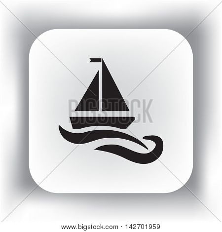 Flat icon. The boat floats on the waves. Sailing ship on the water.