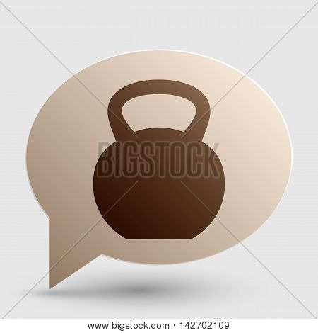Fitness Dumbbell sign. Brown gradient icon on bubble with shadow.