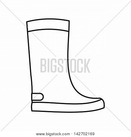 Rubber boots icon in outline style isolated on white background. Wear symbol vector illustration