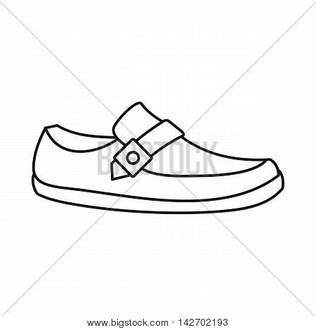 Men moccasin icon in outline style isolated on white background. Wear symbol vector illustration
