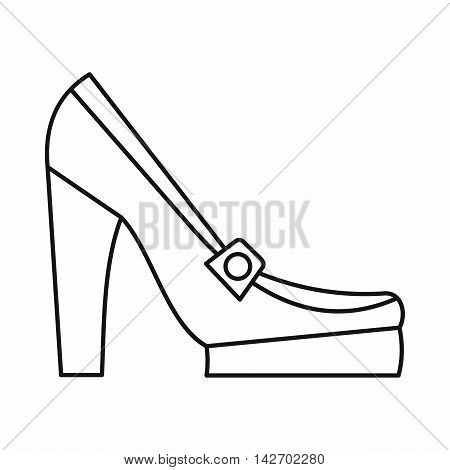 Women shoes on platform icon in outline style isolated on white background. Wear symbol vector illustration