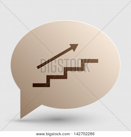 Stair with arrow. Brown gradient icon on bubble with shadow.