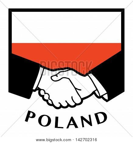 Poland flag and business handshake, vector illustration