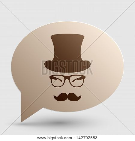 Hipster accessories design. Brown gradient icon on bubble with shadow.