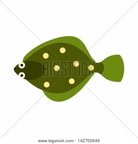 Flounder icon in flat style isolated on white background. Sea creatures symbol