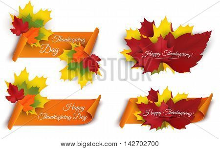Set of Happy Thanksgiving banners with colorful autumn leaves and paper scroll ribbon. Vector illustration