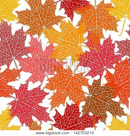 Vector seamless pattern of silhouette of a hand-drawn inversion maple leaf. Trace ink drawing of a tree leaf seamless texture in different shades of autumn. For seasonal holiday design. Botanical.