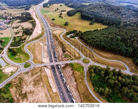 Aerial View Of Highway Junction, Green Forest, Netherlands