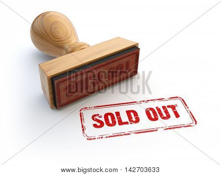 Stamp sold out isolated on white. 3d illustration