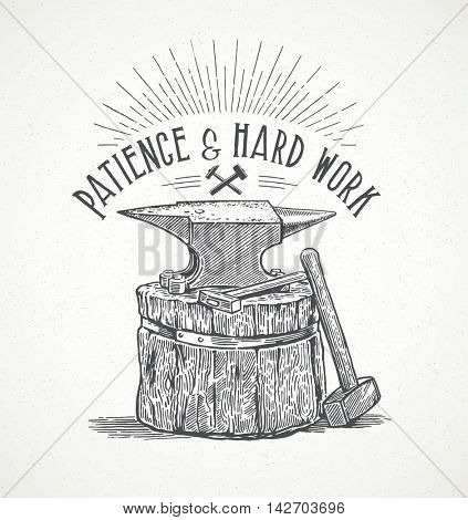 Blacksmith's anvil and inscription in graphic style. Hand drawn illustration.
