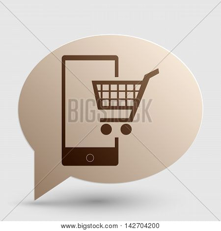 Shopping on smart phone sign. Brown gradient icon on bubble with shadow.