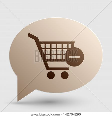 Vector Shopping Cart with Remove sign. Brown gradient icon on bubble with shadow.