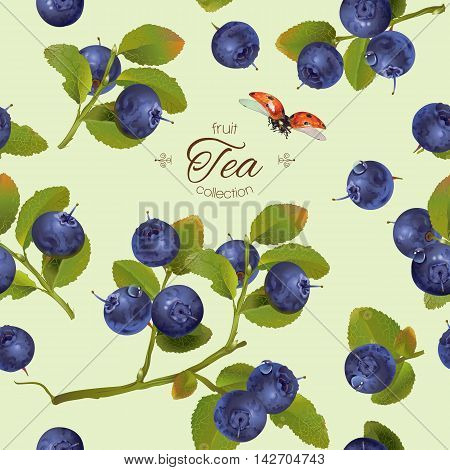 Vector blueberry tea seamless pattern. Background design for natural cosmetics,sweets and pasties filld with berry, food, grocery, health care products. Best for textile wrapping paper