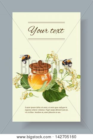 Vector linden honey banner with bumblebees. Design for herbal tea, natural cosmetics, honey, health care products, homeopathy, aromatherapy. With place for text
