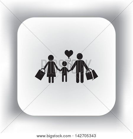 Flat icon. A happy family is shopping.