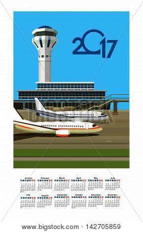vector illustration calendar 2017 airport building near airfield