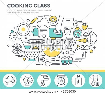 Cooking class concept illustration, thin line, flat design