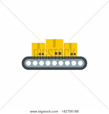 Belt conveyor with load icon in flat style isolated on white background. Products symbol