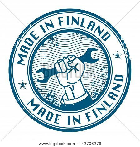Grunge rubber stamp with words Made in Finland inside, vector illustration