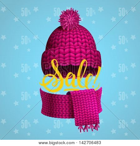 Sale lettering with winter cap and scarf. Handwritten text, calligraphy. For posters, banners, leaflets and brochure.