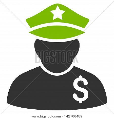 Financial Policeman icon. Glyph style is bicolor flat iconic symbol with rounded angles, eco green and gray colors, white background.