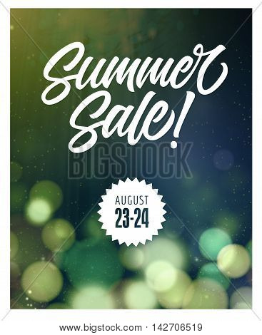Summer Sale lettering with blurry circles in background. Sample date. Handwritten text, calligraphy. For posters, banners, leaflets and brochure.