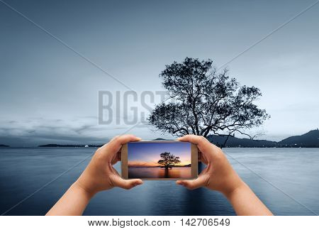 Hand of photographer using smart phone shooting image on seascape in twilight