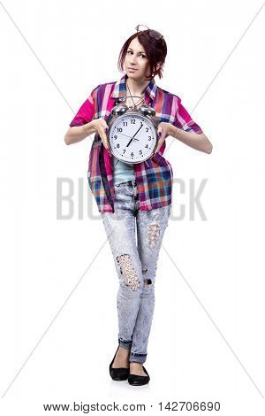 Education concept with student and clock