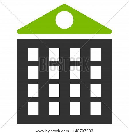 Multi-Storey House icon. Glyph style is bicolor flat iconic symbol with rounded angles, eco green and gray colors, white background.
